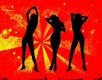 Meisje dat op een retro achtergrond danst Royalty-vrije Stock Foto