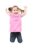 Meisje dat op geïsoleerdj springt Stock Afbeeldingen