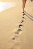 Meisje dat op zeekust gaat Stock Foto