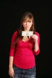 Meisje dat oude dollarrekening houdt Stock Fotografie