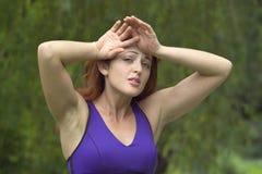 Meisje dat in park wordt vermoeid Stock Afbeelding
