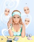 Meisje dat Schoonheidsmiddelen toepast royalty-vrije illustratie