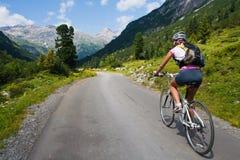 Meisje dat snel op fiets berijdt. Het onduidelijke beeld van de motie Stock Foto