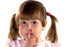 Meisje dat teken van stilte maakt Royalty-vrije Stock Afbeelding