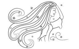 Meisje dat van een Illustratie van de Wind van de Lente geniet Stock Afbeeldingen