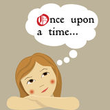 Meisje dat van sprookjes droomt vector illustratie