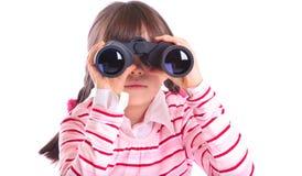 Meisje dat in verrekijkers kijkt royalty-vrije stock foto