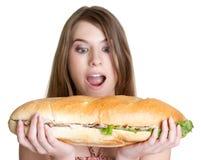 Meisje dat Voedsel eet royalty-vrije stock afbeeldingen