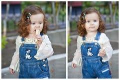 Meisje dat wafeltje eet stock afbeelding