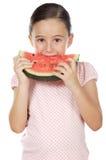 Meisje dat watermeloen eet Royalty-vrije Stock Foto's