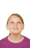 Meisje dat witte copyspace bekijkt Royalty-vrije Stock Foto's
