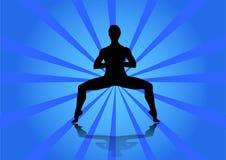 Meisje dat yoga doet Jong meisje die yoga op abstracte achtergrond doen stock illustratie