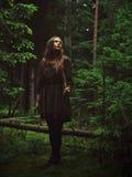 Meisje dat zich in bos bevindt Stock Afbeelding