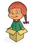 Meisje in de doos stock illustratie
