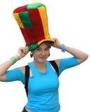 Meisje in de grote hoed Stock Afbeelding
