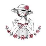 Meisje in de hoed royalty-vrije illustratie