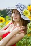 Meisje in de hoed Stock Fotografie