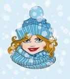 Meisje in de hoed en de sjaal Stock Fotografie