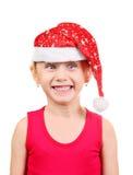 Meisje in de hoed van de Kerstman Royalty-vrije Stock Foto