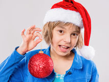 Meisje in de hoed van de Kerstman Royalty-vrije Stock Afbeelding