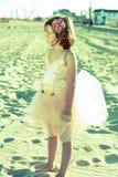 Meisje in de kleding van de feeballerina Stock Foto
