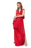 Meisje in de kleding van de Griekse godin stock foto