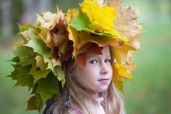 Meisje in de kroon van de herfstbladeren stock fotografie