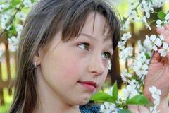Meisje in de lente Stock Foto's