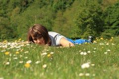 Meisje in de lente Stock Foto