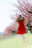 Meisje in de lentetuin Royalty-vrije Stock Afbeeldingen