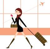 Meisje in de luchthaven stock illustratie