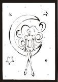 Meisje in de maan stock illustratie