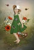 Meisje in de papavers Royalty-vrije Stock Afbeelding