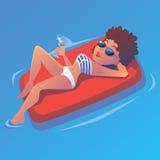 Meisje in de pool op luchtbed met martini stock illustratie