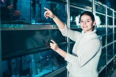 Meisje in de punten van de aquariumwinkel aan gekleurde vissen Royalty-vrije Stock Fotografie
