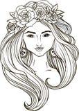 Meisje in de rand van bloemen royalty-vrije illustratie