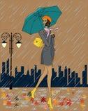 Meisje in de regen stock illustratie