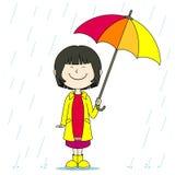 Meisje in de regen vector illustratie