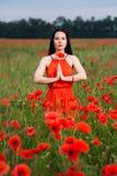 Meisje in de rode kleding stock foto's