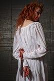 Meisje in de Situatie van de Verschrikking met Bloedig Gezicht Royalty-vrije Stock Afbeelding