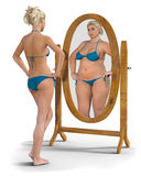 Meisje in de Spiegel Stock Afbeelding