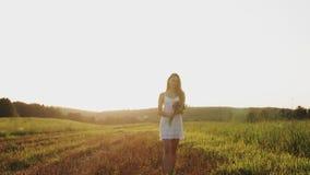Meisje de status op gebied met boeket van wilde bloemen in zonnestralen steekt bij zonsondergang op de zomeravond aan stock footage