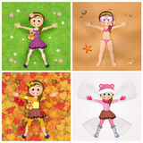 Meisje in de vier seizoenen royalty-vrije illustratie
