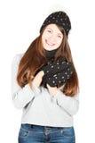 Meisje in de winterhoed en sjaal Stock Afbeelding