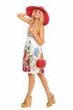 Meisje in de zomerkleding en hoed royalty-vrije stock foto's
