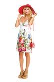 Meisje in de zomerkleding en hoed royalty-vrije stock fotografie