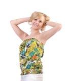 Meisje in de zomerkleding op wit wordt geïsoleerd dat royalty-vrije stock afbeelding