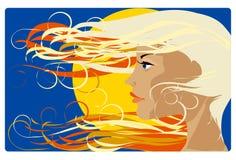 Meisje in de zon vector illustratie