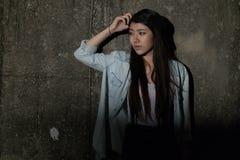 Meisje in depressie, zorg, wanhoop, ontmoediging, wanhoop Royalty-vrije Stock Fotografie