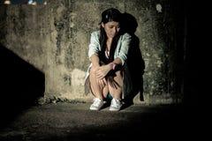 Meisje in depressie, zorg, wanhoop, ontmoediging, wanhoop Royalty-vrije Stock Foto's